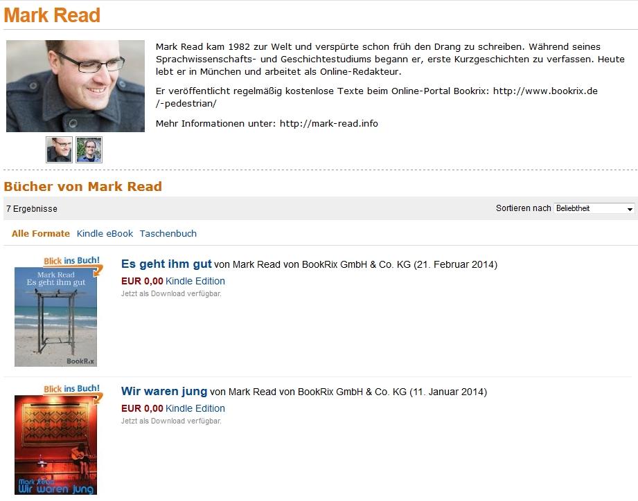 Autorenseite Mark Read bei Amazon